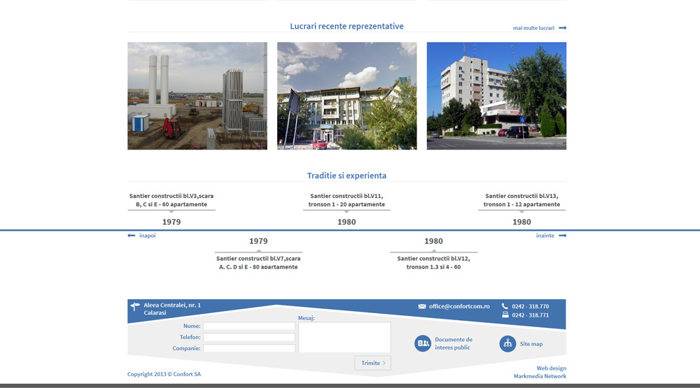 Confort SA - web design personalizat cu slider istoric