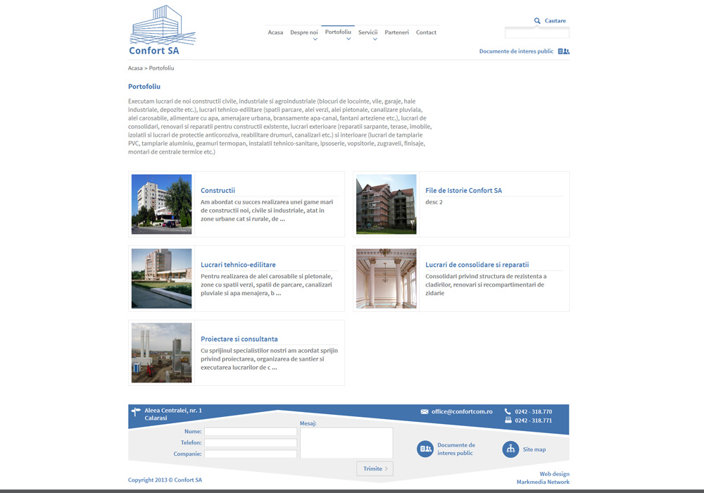 Confort SA - web design personalizat portofoliu