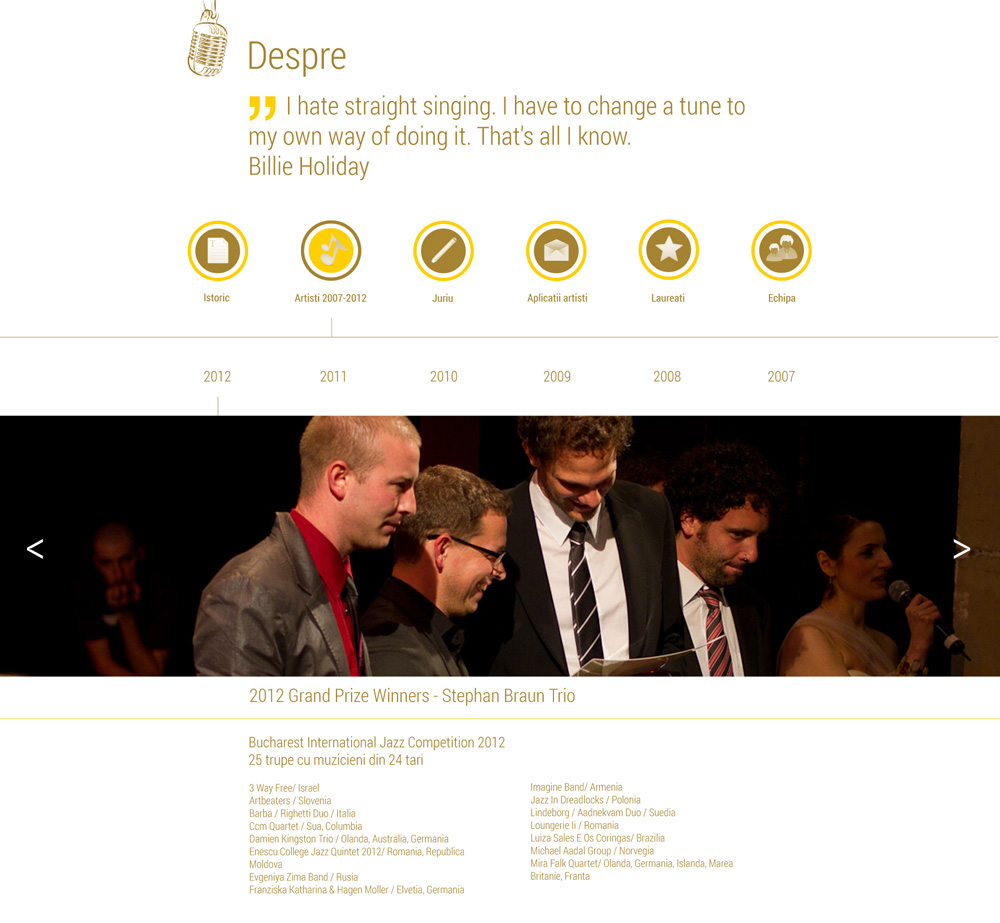 Jazz Competition - web design & development - inner pages