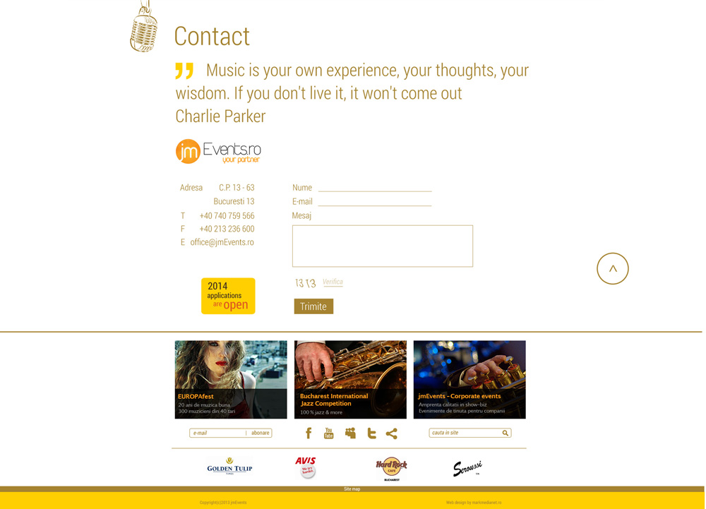 Jazz Competition - web design & development - contact page