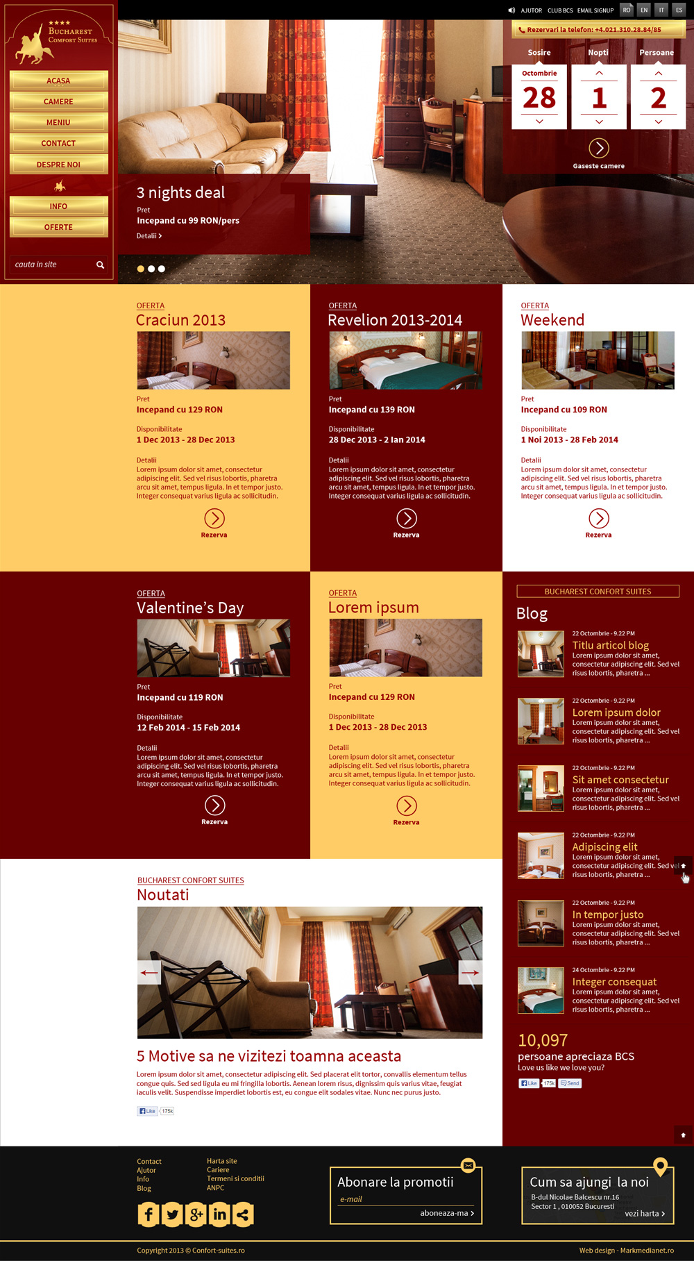 Comfort Suites - web design si implementare
