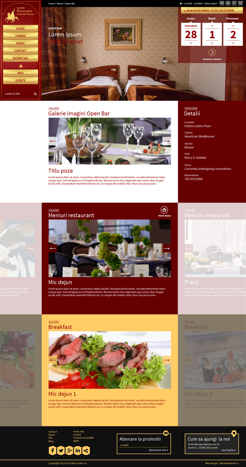 Comfort Suites - web design si implementare galerii multiple