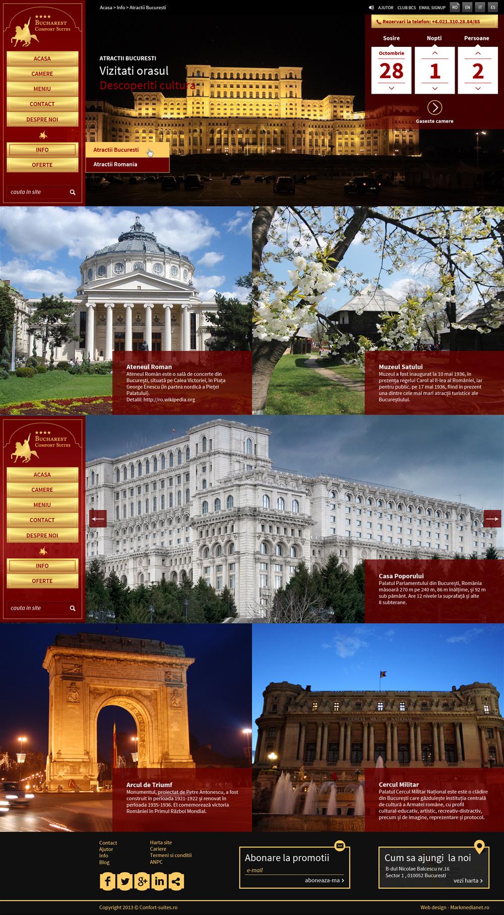 Comfort Suites - web design si implementare galerii imagini